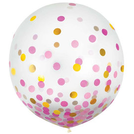 """24"""" Round Latex Balloons w/ Confetti - Pink/Gold - 2ct"""