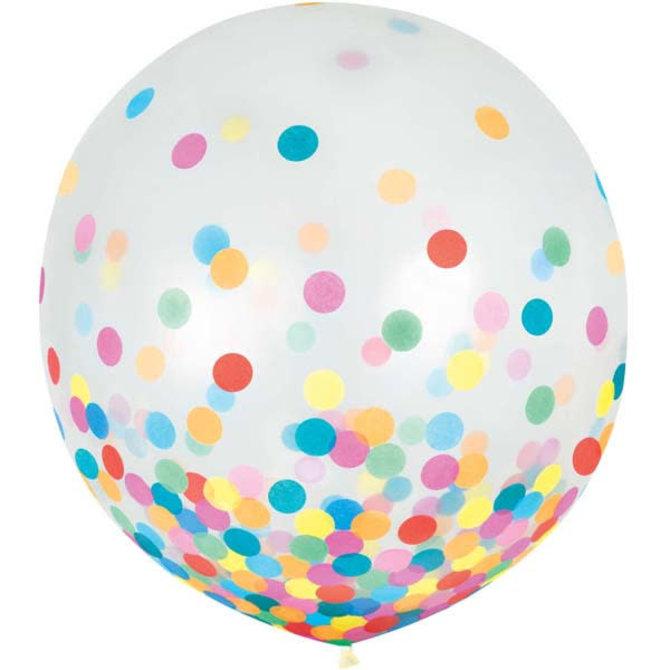 """24"""" Round Latex Balloons w/ Confetti - Multi - 2ct"""