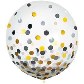 "24"" Round Latex Balloons w/ Confetti - Black/Silver/Gold -2ct"