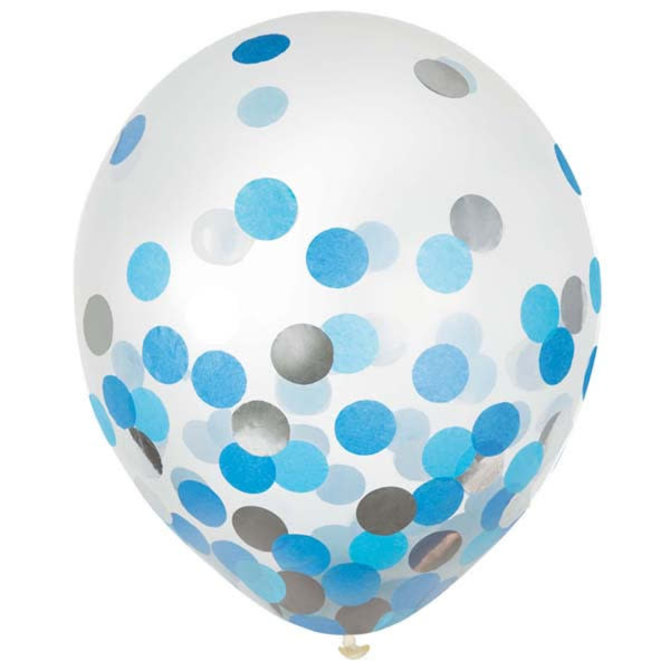 """12"""" Latex Balloons w/ Confetti - Blue/Silver - 6ct"""