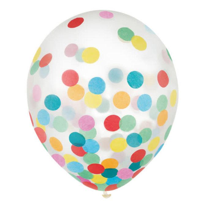 """12"""" Latex Balloons w/ Confetti- Multi - 6ct"""