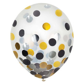 "12"" Latex Balloons w/ Confetti - Black/Silver/Gold - 6ct"