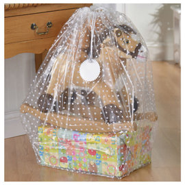 Clear Plastic w/ White Dots Gift Sack