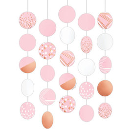 Hanging Circle Decorations - Rose Gold/Blush- 5 Strings, 5' each w/ cutouts, 8""