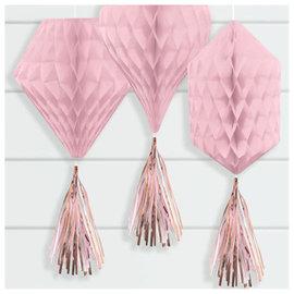 Mini Honeycombs w/ Tassels - Rose Gold/Blush - 3ct