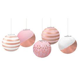 """Mini Hot-Stamped 5"""" Lanterns - Rose Gold/Blush - 5ct"""