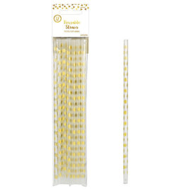 Metallic Gold Dots Cocktail Party Re-usable Straws - 12ct