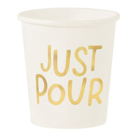 Cocktail Party Mini Paper Cups, 4 oz. - Hot-Stamped ''Just Pour''  - 16ct