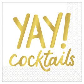 Yay Cocktails Beverage Napkins - Hot-Stamped - 16ct
