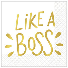 Like A Boss Beverage Napkins - Hot-Stamped - 16ct
