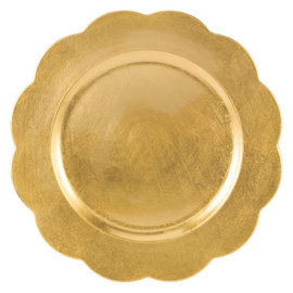 Gold Scalloped Plastic Charger 13""