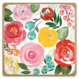 "Bright Florals Square Plates, 7"" - 8ct"