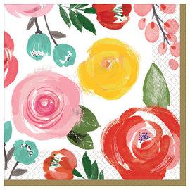 Bright Florals Beverage Napkin - 16ct
