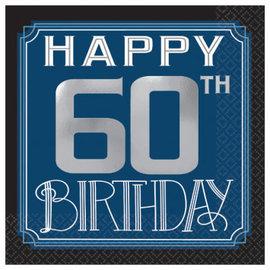Happy Birthday Man Beverage Napkins - 60th, 16ct