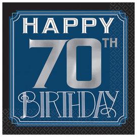 Happy Birthday Man Beverage Napkins - 70th, 16ct