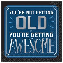 Happy Birthday Man Beverage Napkins - Not Getting Old, 16ct