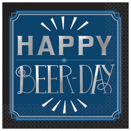 Happy Birthday Man Beverage Napkins - Happy Beer Day, 16ct