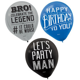 Happy Birthday Man Printed Latex Balloon, 15ct