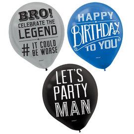 Happy Birthday Man Printed Latex Balloon, 15ct