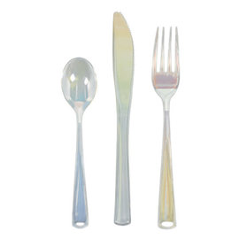 Shimmering Party Cutlery Asst. - Iridescent Plastic - 24ct