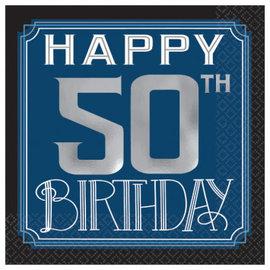 Happy Birthday Man Beverage Napkins - 50th 16ct.