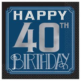 Happy Birthday Man Beverage Napkins - 40th 16ct.