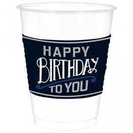 Happy Birthday Man Plastic Cups, 16 oz. 25ct.