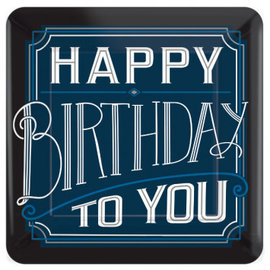 "Happy Birthday Man Square Plates, 10"" 8ct"