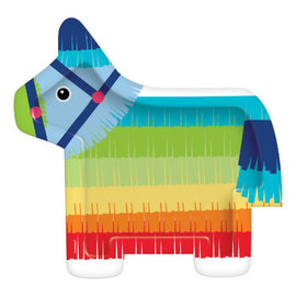 "Donkey Pinata Shaped Paper Plates 10.5"" - 8ct"