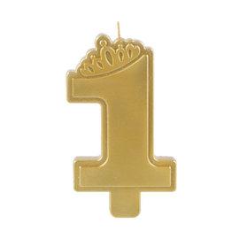 Premium 1st Birthday - Girl 1st Birthday Candle- Metallic Gold