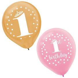 """Premium 1st Birthday - Girl 12"""" Latex Balloons -15ct"""