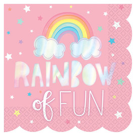 Magical Rainbow Birthday Scalloped Hot Stamp Luncheon Napkins -16ct