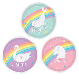 "Magical Rainbow Birthday Round Iridescent Plates, Assorted, 7""  -8ct"