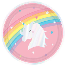 "Magical Rainbow Birthday Round Iridescent Plates, 9"" -8ct"