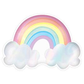 Magical Rainbow Birthday Rainbow Shaped Iridescent Plate -8ct