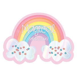 Magical Rainbow Birthday Large Novelty Invitations -8ct