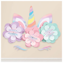 Magical Rainbow Birthday Unicorn Wall Decorating Kit -8pc