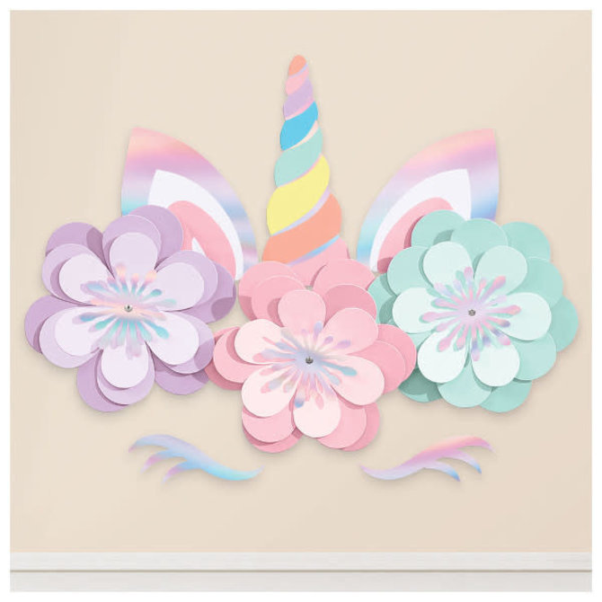 Magical Rainbow Birthday Unicorn Wall Decorating Kit -8pc