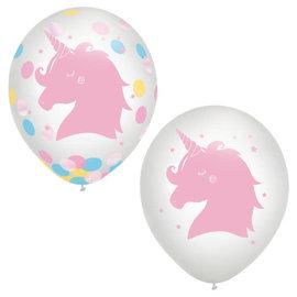"Magical Rainbow Birthday 12"" Latex Balloon w/ confetti -6ct"