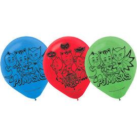 """PJ Masks 12"""" Latex Balloons- 6ct"""