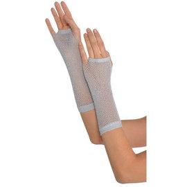 Silver Long Fishnet Gloves