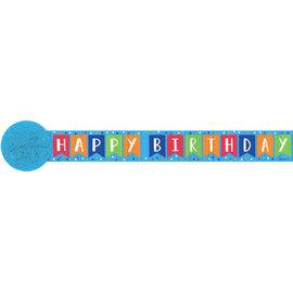 Printed Crepe Streamers - Happy Birthday, Blue, 81'