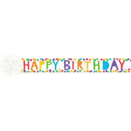 Printed Crepe Streamers - Happy Birthday, Rainbow, 81'