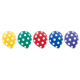 "Primary Dots All Over Print 12"" Latex Balloon Assortment -20ct"
