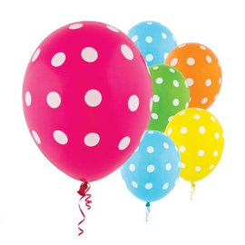 Dots All Over Print Latex Balloon Assortment -Brights, 20ct