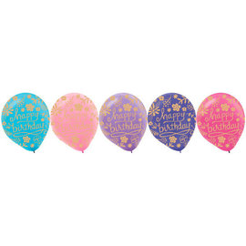Happy Birthday Floral Organic Latex Balloons