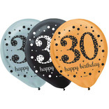 "Sparkling Celebration ""30"" Latex 12"" Balloons, 15ct"