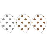 "Confetti Printed Latex 12"" Balloons Dots - Mixed Metallic, 20ct"