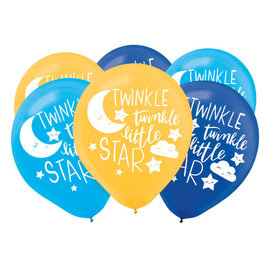 Twinkle Twinkle Little Star Latex Balloons Asst Colors 15Ct