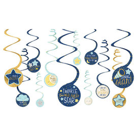 Twinkle Twinkle Little Star Swirl Decorations Value Pack 12Ct